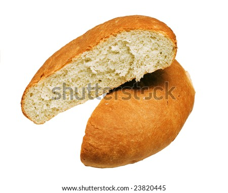 Two of the muffin of bread on white background - stock photo
