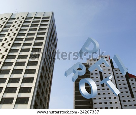 Two office blocks with falling letters spelling profit - stock photo