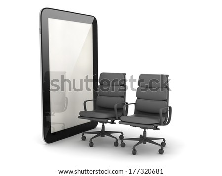 Two office chairs and tablet computer