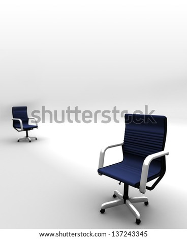 Two Office Chairs separated - Distant chair blurred - stock photo