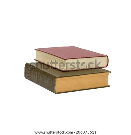 Two old and new books isolated on white background - stock photo