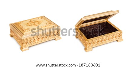 two old antique, closed and opened arabic trunk. - stock photo