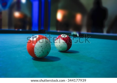 Two old Ballard balls at night on green table in Iraqi city of Kirkuk  - stock photo