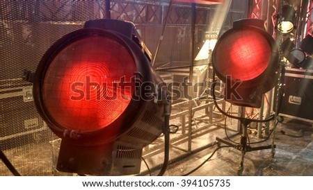 two old big vintage cinema and movie red luminaires - stock photo