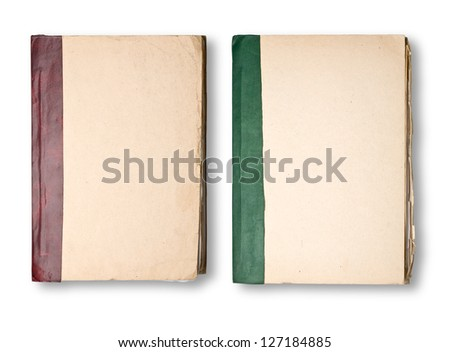 Two Old Book Cover isolated on white background - stock photo
