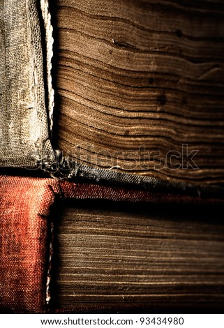 Two old books close up. - stock photo