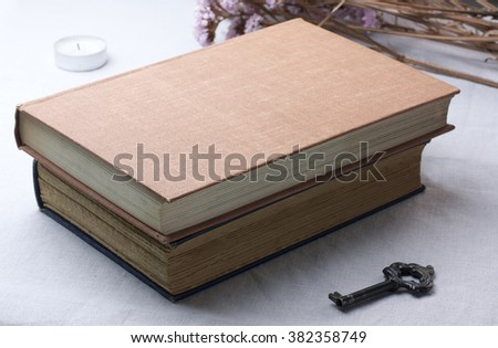 Two old books with a vintage looking key, on light grey fabric, with some dried flowers in the background - stock photo