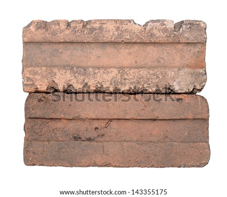 Two old bricks isolated on white background