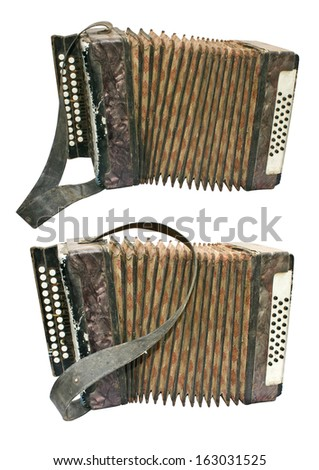 Two old button accordions isolated on white - stock photo