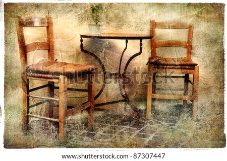 two old chairs - artwork in retro painting style - stock photo