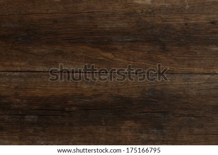 Two old dark brown planks of primitive driftwood texture with rough wood surface - stock photo