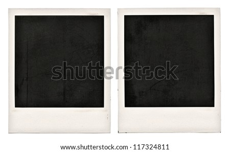 Two old dusty photo frames isolated on white - stock photo