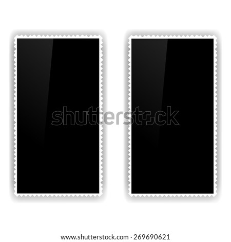 Two Old Photo Frames Isolated on White Background. - stock photo