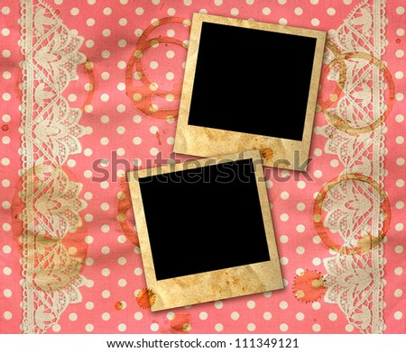 two old photo frames over dirty pink white polka dot background with lace border