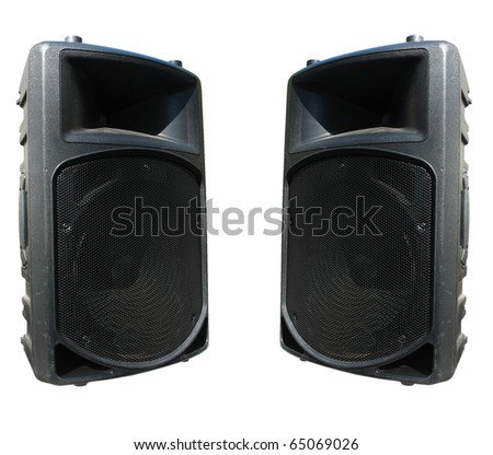two old powerful concerto audio speakers isolated on white background - stock photo