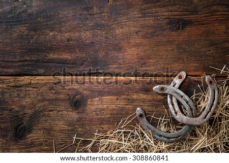 Two old rusty horseshoes with straw on vintage wooden board - stock photo