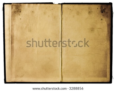 Two old shabby book pages with cover
