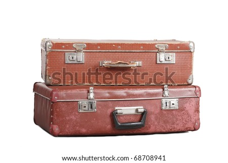 Two old suitcases. It is isolated on a white background - stock photo