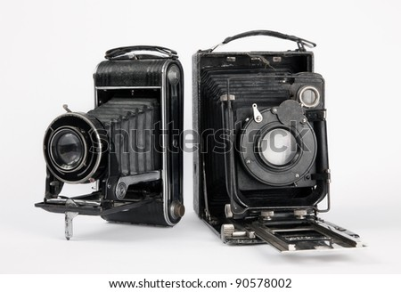 two old vintage camera - stock photo