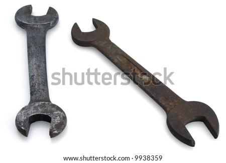 Two old vintage open end rusted wrenches