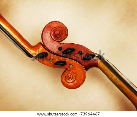 two old violin scrolls detail in ambient light - stock photo