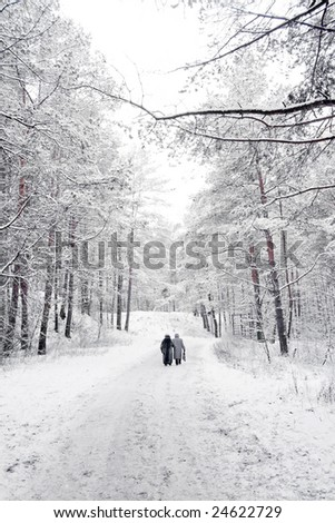 Two old women in winter forest - stock photo