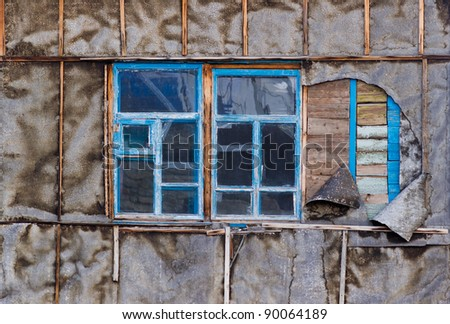 two old wooden box wall building - stock photo