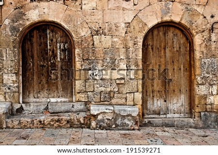two old wooden doors - stock photo