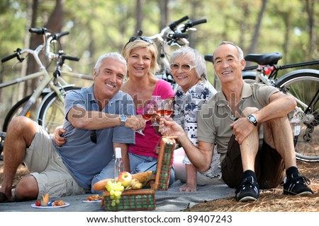 Two older couples enjoying a picnic in the woods - stock photo