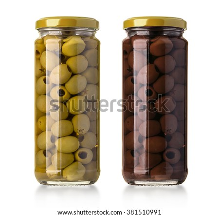 two  olives  bottles  on a white background in bottle with clipping path - stock photo