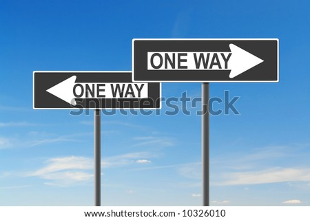 Two One Way roadsigns indicating opposite directions over blue sky - confusion concept - stock photo