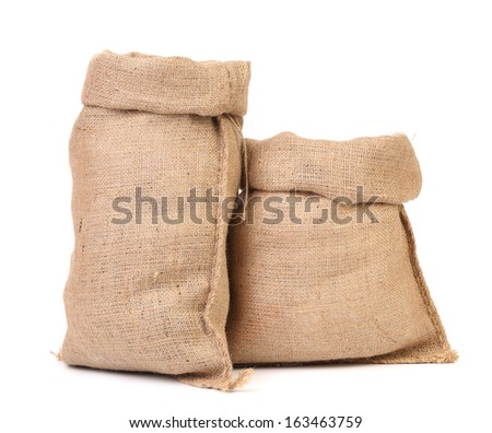Two open bags from a sacking. Isolated on a white background - stock photo