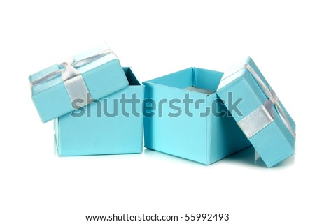 two open blue box isolated on white background - stock photo