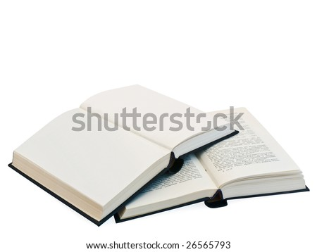 two open books and clear pages against the white background - stock photo