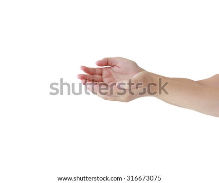 Two open empty hands with palms up, isolated on white background