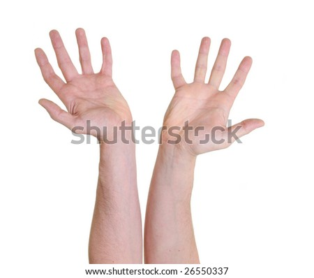 two open hands isolated over white background