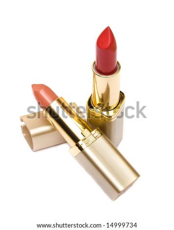 Two open lip sticks isolated - stock photo