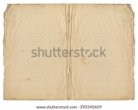 Two open paper blank pages with old spots and torn edges isolated on white background. Vintage book texture.  - stock photo