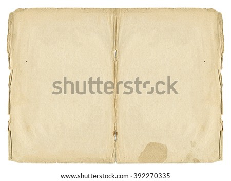 Two open paper blank pages with old spots and torn edges isolated on white background. Vintage book texture.