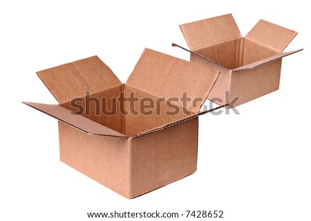 Two Open Shipping Boxes Isolated - stock photo