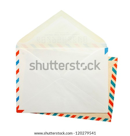 Two open vintage envelopes - stock photo