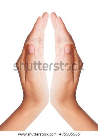 Two open woman hands on white background