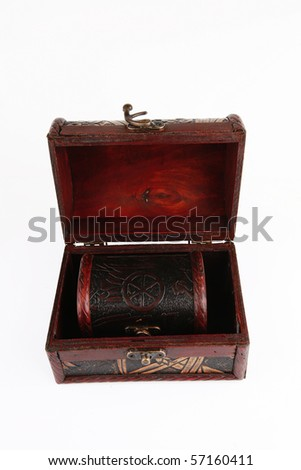 two open wooden chests with metal ornament - stock photo