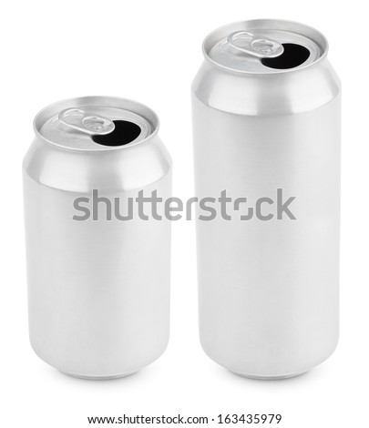 Two opened aluminum cans of beer isolated on white with clipping path - stock photo