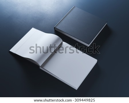 Two opened books with hardcover - stock photo