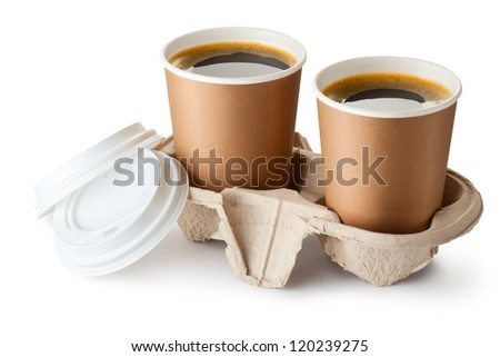 Two opened take-out coffee in holder. Isolated on a white. - stock photo