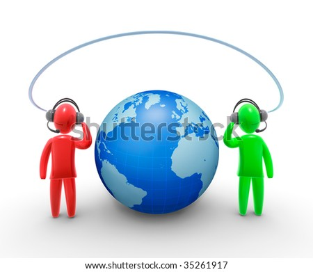 Two operators communicating around world. - stock photo
