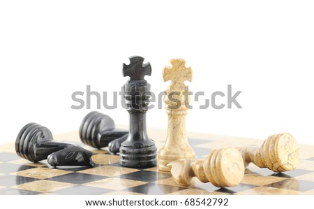 Two opposing leaders lay down their arms, concept. - stock photo