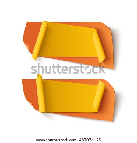 Two orange and yellow, abstract banners isolated on white background.