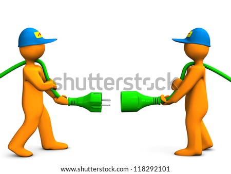 Two orange cartoon characters with green connector. - stock photo